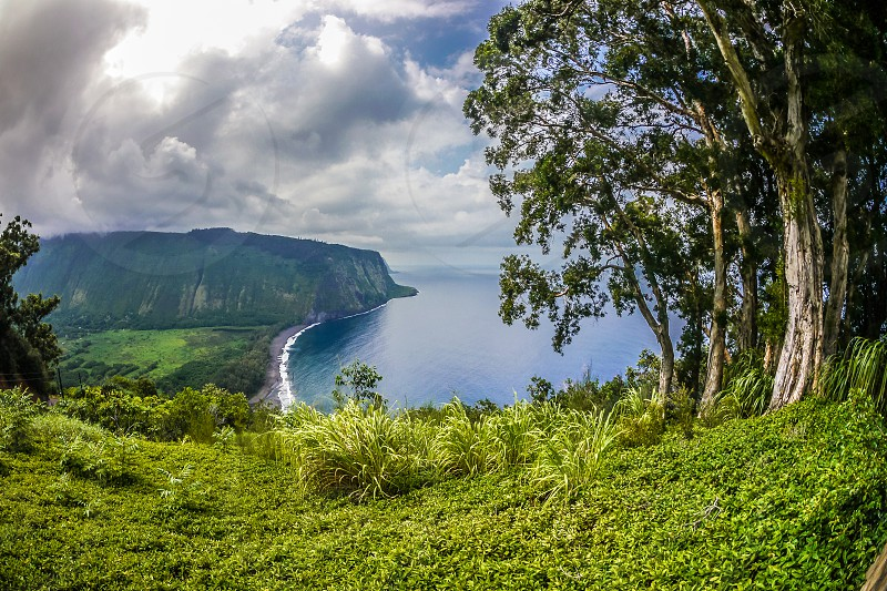 waipio valley look out over the black send beach photo