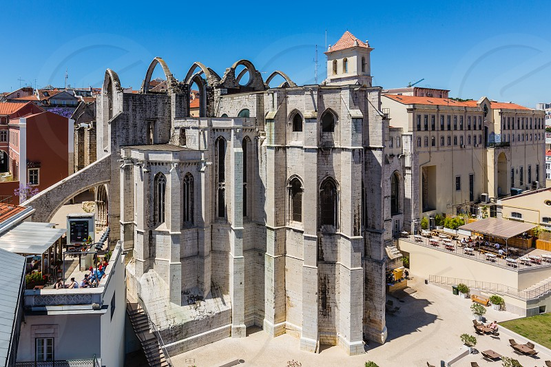 Carmo Convent in Lisbon Portugal. The medieval convent was ruined during the sequence of the 1755 Lisbon earthquake. photo