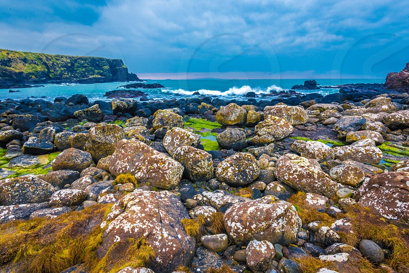 Rock formations at Giant's Causeway in Northern Ireland. photo