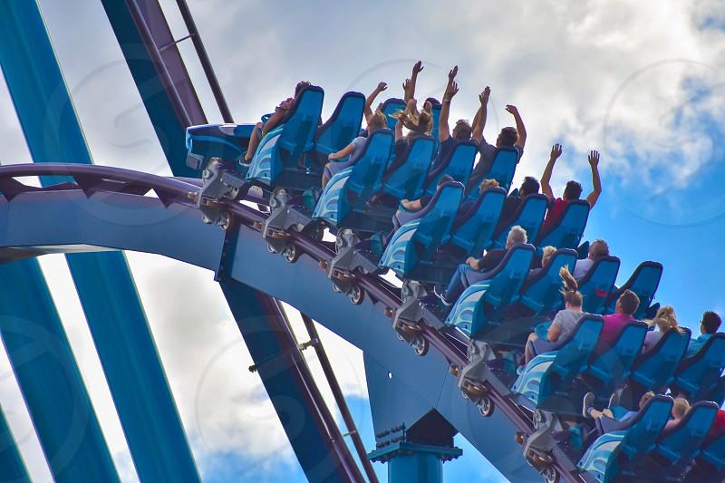 Orlando Florida . February 26  2019. People having fun amazing Mako rollercoaster at Seaworld Theme Park (7) photo