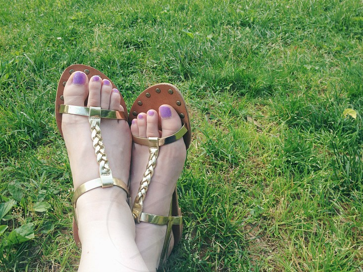 Toes nail polish gold feet grass summer sandals braided shoes seasonal relax outdoors lifestyle photo