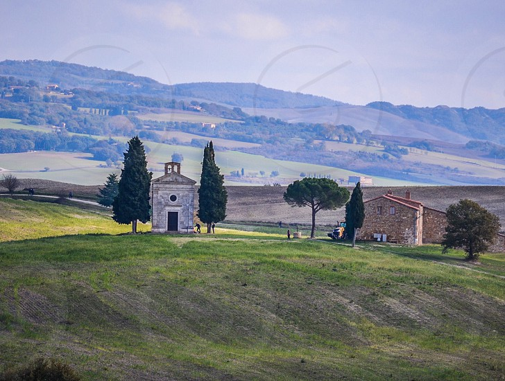 Tuscany church traditional hills  photo