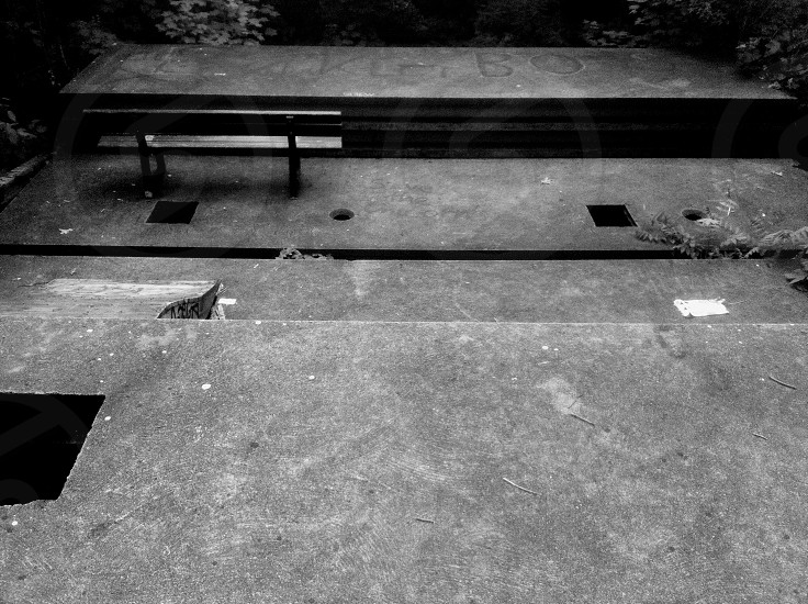 black wooden park bench photo