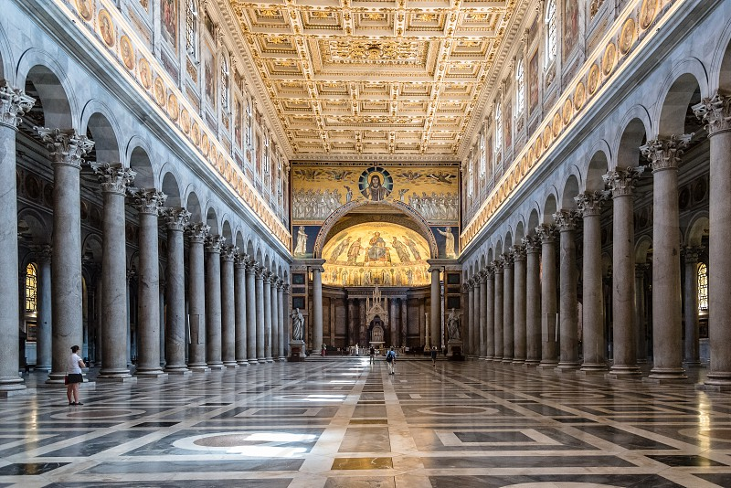 Interior view of Papal Basilica of St. Paul outside the Walls . It is one of Rome's four major basilicas. photo