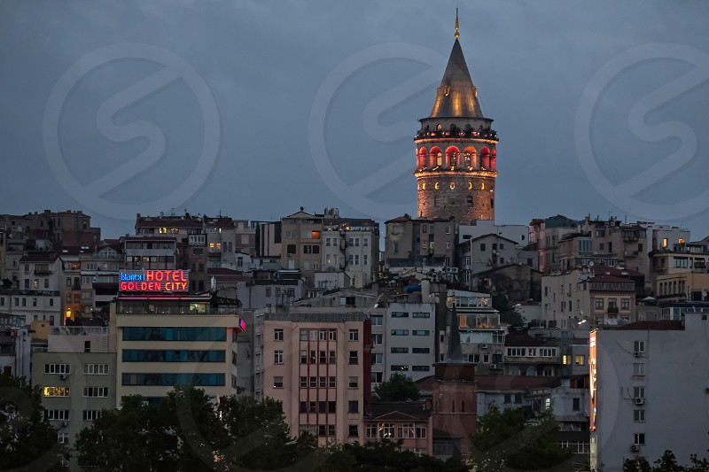 ISTANBUL TURKEY - MAY 29 : Night-time view of the Galata Tower in Istanbul on May 29 2018 photo