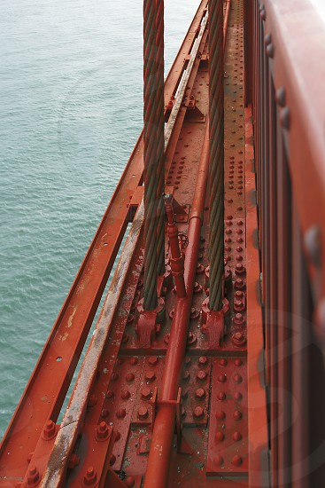 detail of the famous Golden Gate Bridge in San Francisco photo