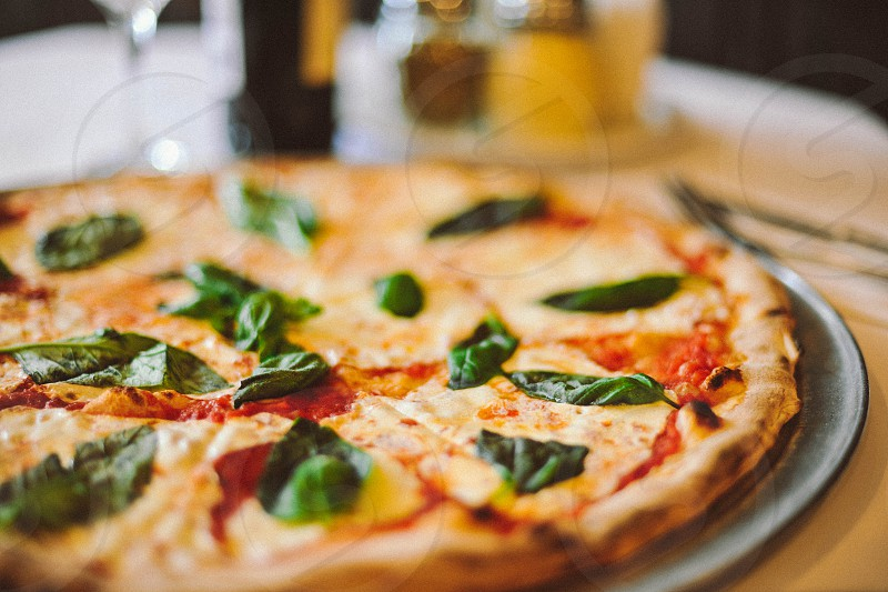cheese and spinach pizza photo