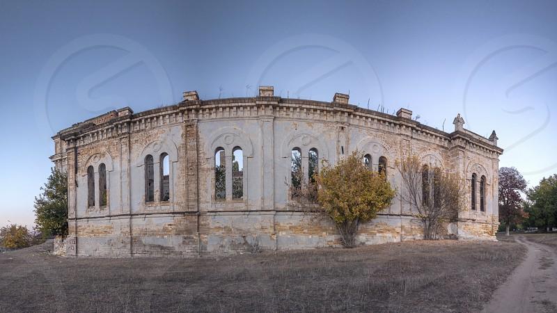 Abandoned Catholic Cathedral of the Most Holy Trinity in the village of Limanskoye Odessa region Ukraine photo