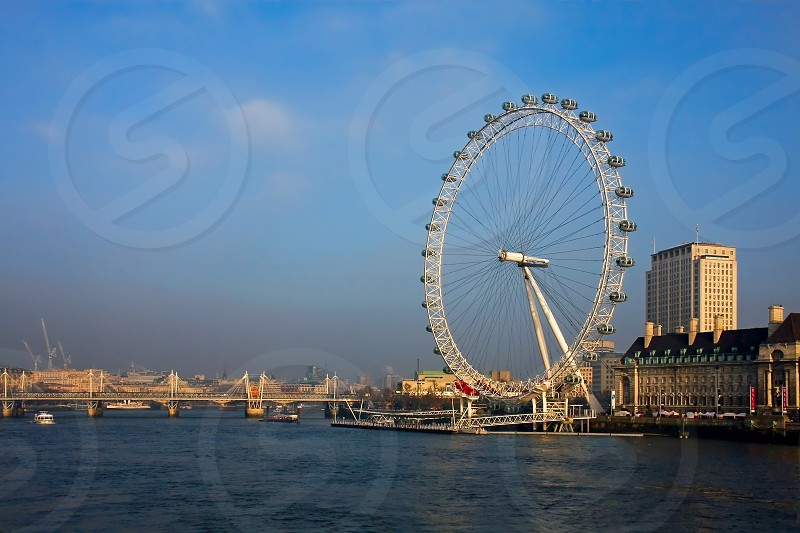 View along the River Thames towards the London Eye photo