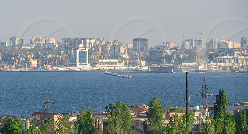 View of the port of Odessa Ukraine from the sea on a sunny summer day photo