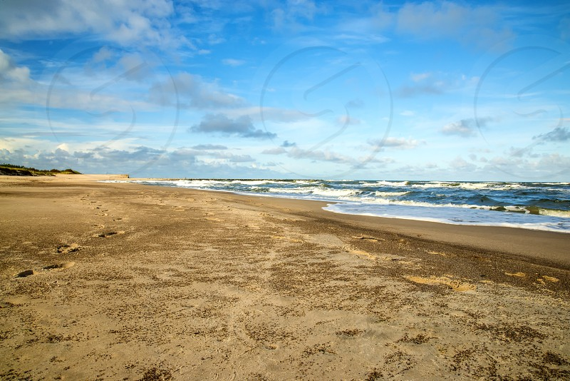 lonesome beach of the Baltic Sea in Poland Ustka photo