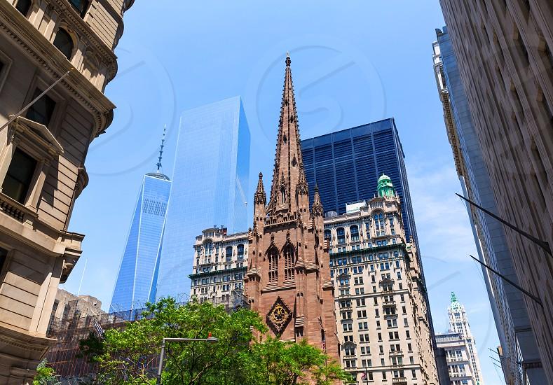Trinity Church and Freedom Tower Manhattan NYC New York USA photo