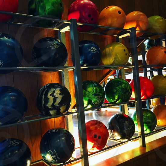 Bowling balls on a wall  photo