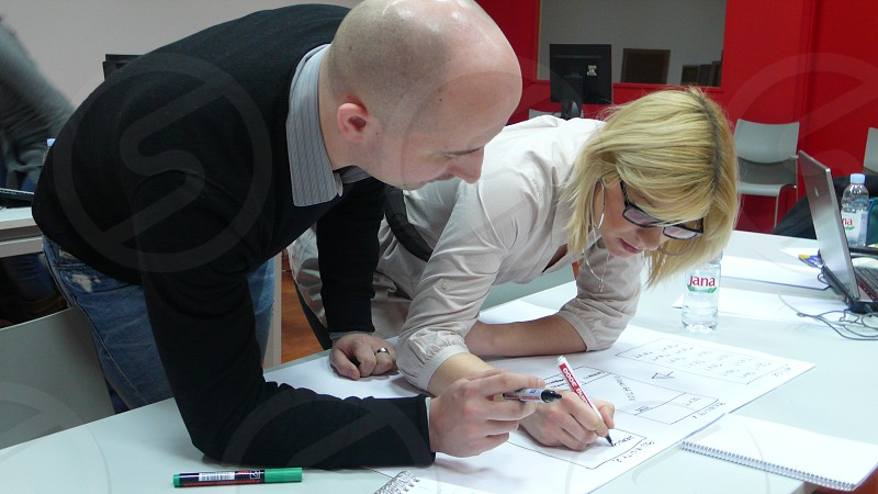People rapid prototyping ideas for a new digital service in Zagreb. photo