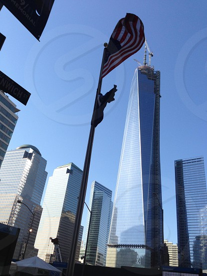 U.S.A flag beside Empire State Building photo