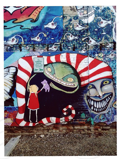 red white and blue graffiti photo