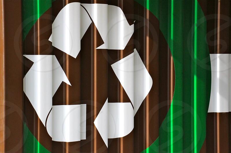 white recycle logo photo