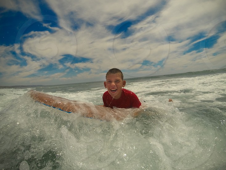 Boogie Boarding in Newport Beach California  photo