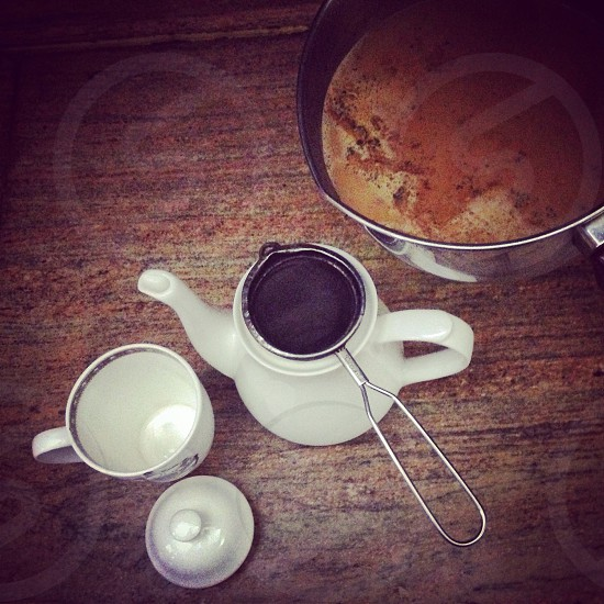Making some tea (masala chai) in New Delhi India photo