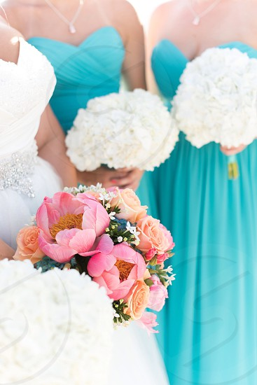 Wedding bridesmaids bride flowers bouquet pink teal peonies photo