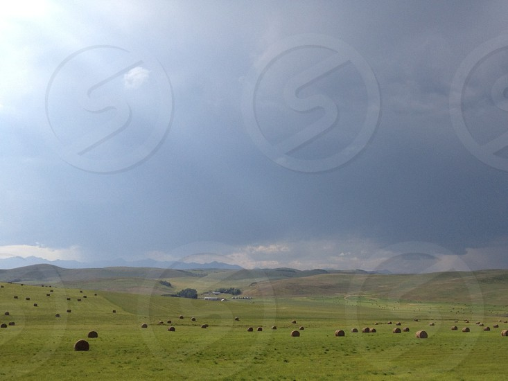 Mountain prairie foothills in Southern Alberta. Hay bales in dramatic light. photo