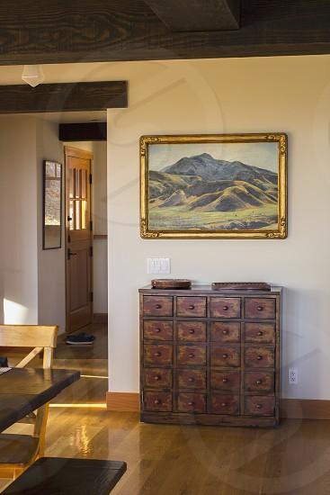 Beautiful; modern; home; interior; walkway; door; entrance; painting; sunny photo
