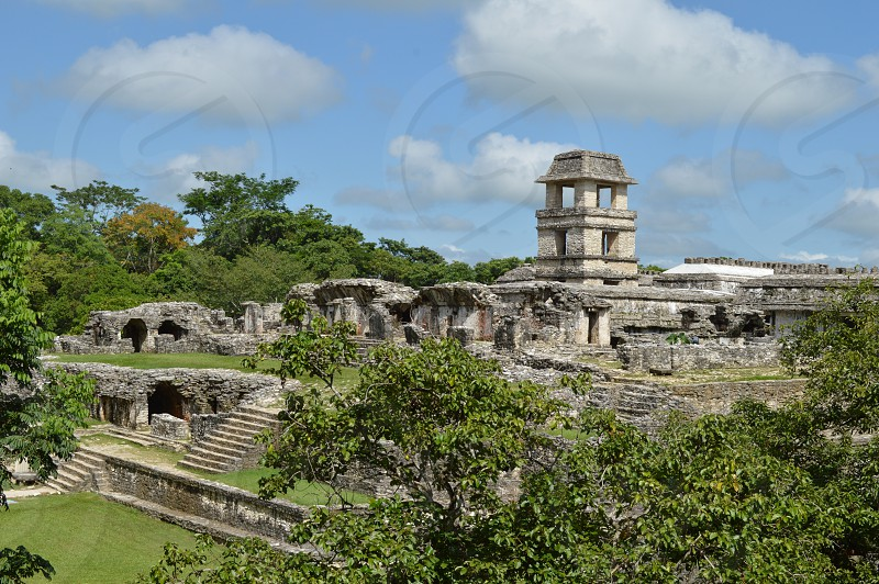 Palenque mayan archaeological site in Chiapas Mexico  photo