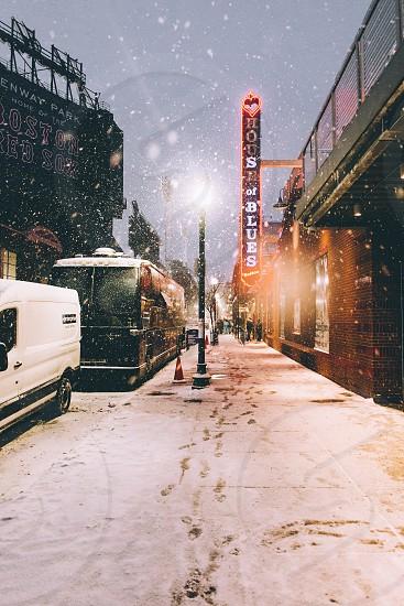 Snow Boston Massachusetts venue street urban weather lights vibes winter storm tour travel adventures  photo