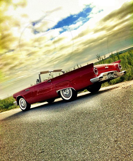 red classic convertible car photo