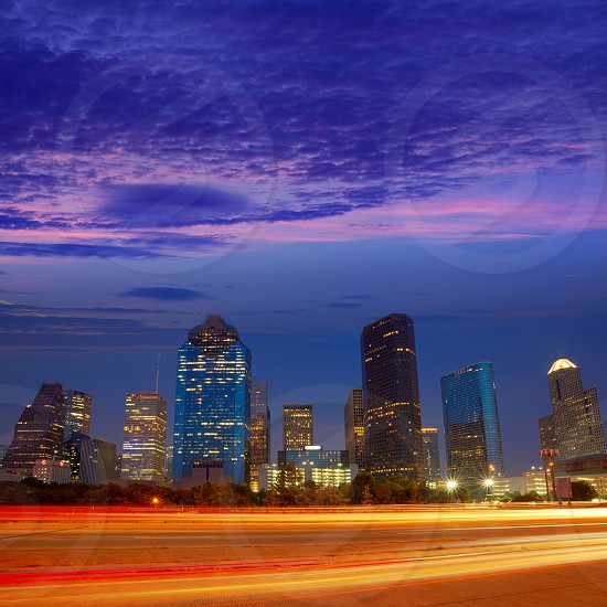 Houston downtown skyline at sunset dusk in Texas US USA photo