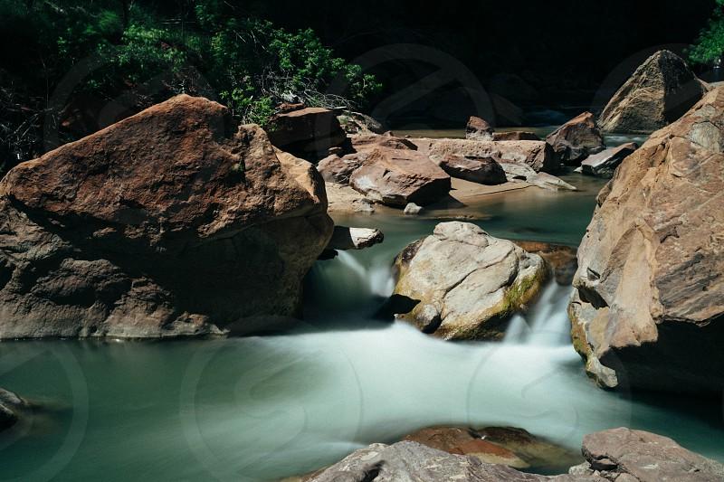 Virgin River Zion National Park. Long exposure. photo
