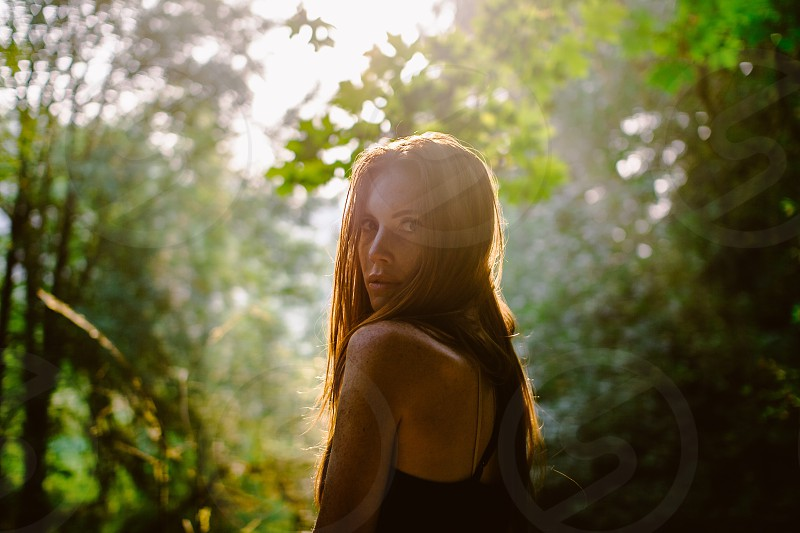 Woman red redhead freckles morning sunrise light sun trees Seattle nature landscape pnw photo