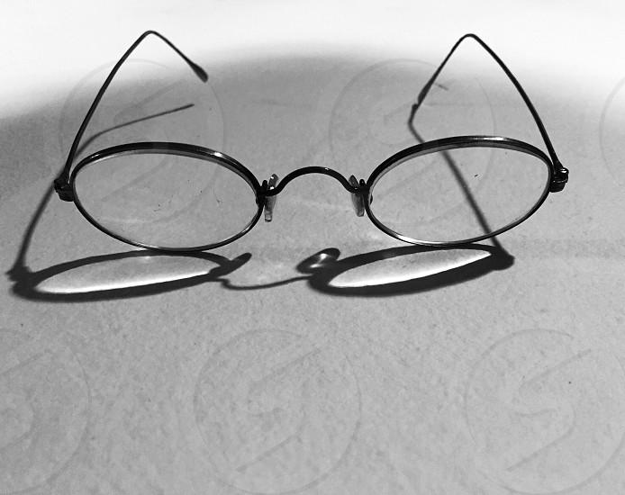 black rimmed round eyeglasses photo