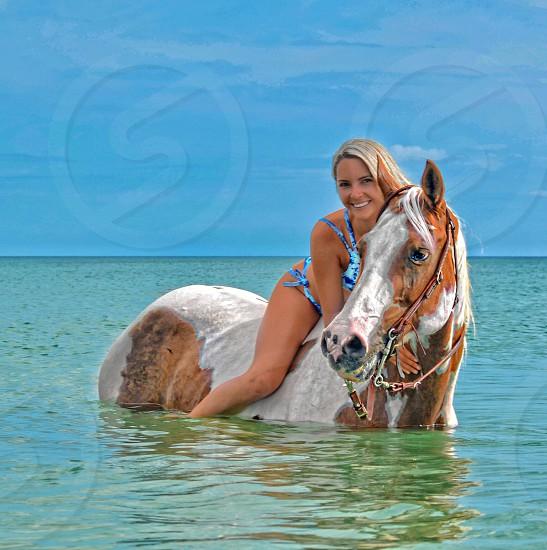 Sweet summertime summertime  cowgirl beach girl Florida girl horse horse on beach vacation horse  horse back riding photo
