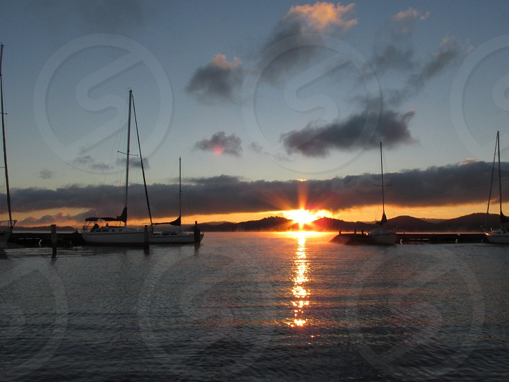 Sailboats in the harbor at sunset photo