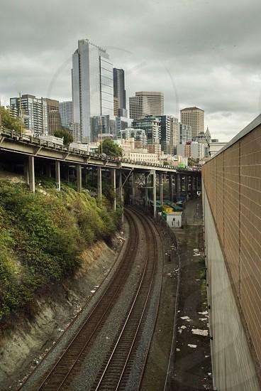brown metal railway photo