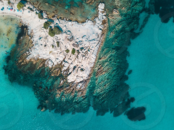 Aerial view of a rocky coastline photo