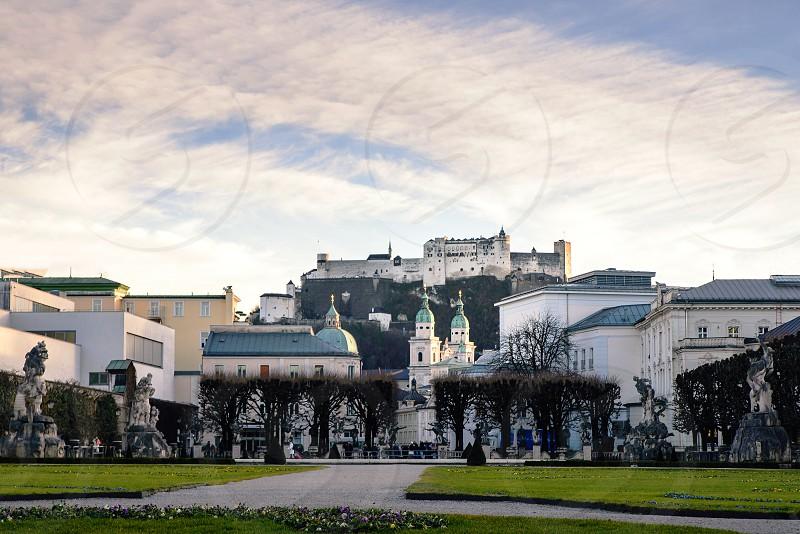Famous Mirabell Garden view park in Salzburg Austria photo