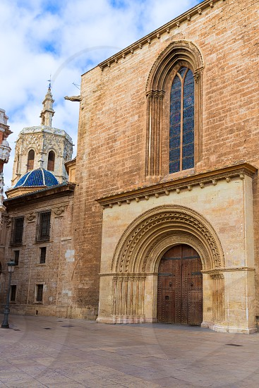 Valencia Romanesque Palau door of Cathedral in Spain with Miguelete photo