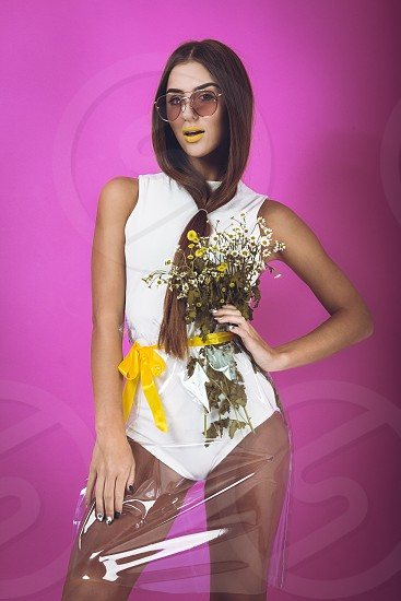 woman clothes studio fashion girl flowers make up pretty young body art photo