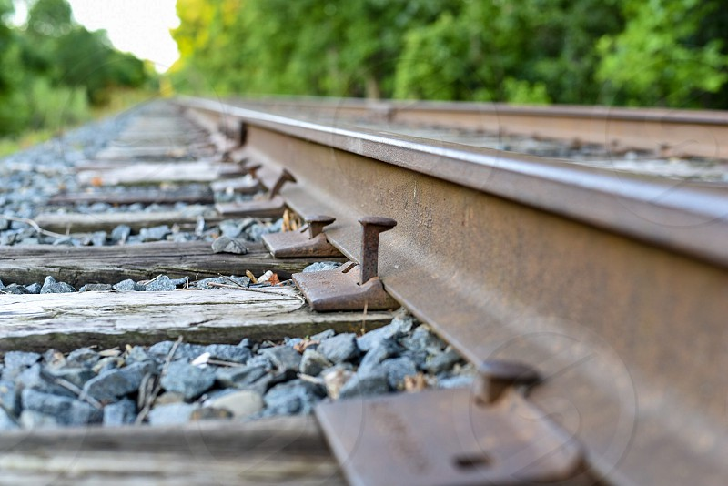 Railroad ties rails train tracks rural photo