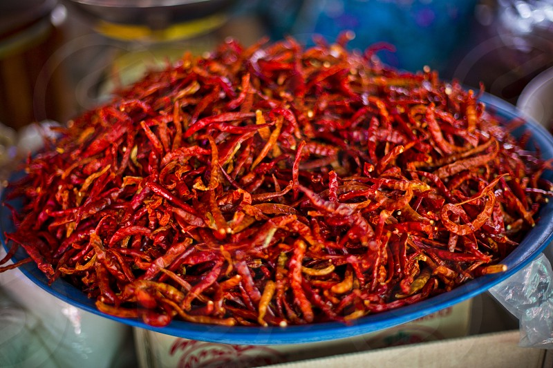 dried red chillies close up display photo