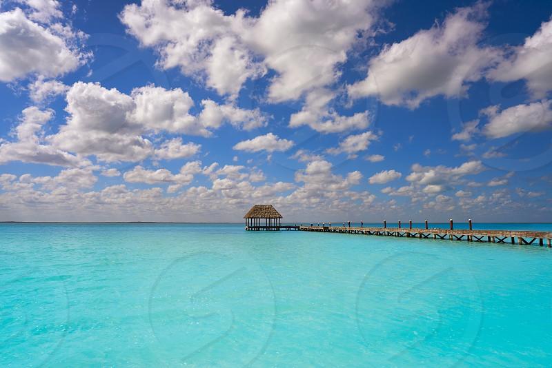 Holbox Island beach wooden pier hut in Quintana Roo of Mexico photo