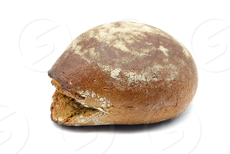 traditional rye dark bread on white isolated background photo