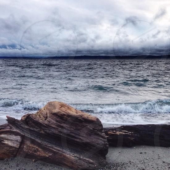 white waves on seashore photo