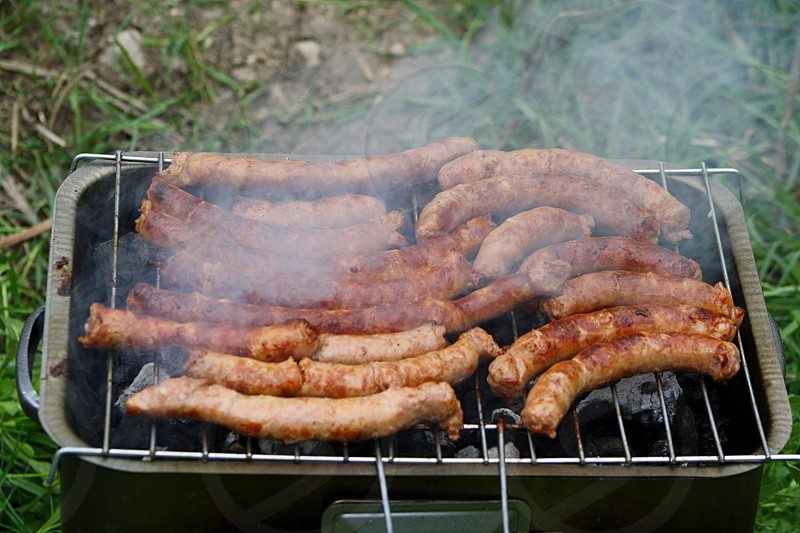 close up of grilled bbq sausages photo