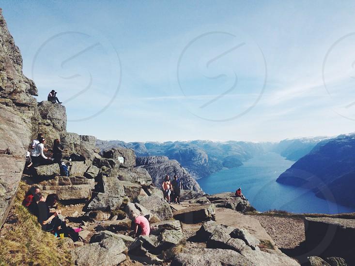 Pulpit Rock Norway Preikestolen Lysefjord Fjord Hiking photo