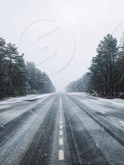 Snowy road photo