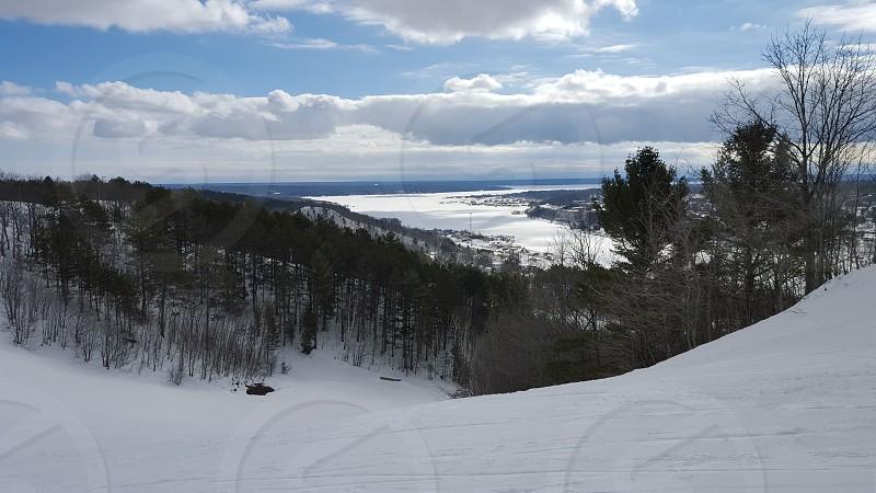 ski hill trees winter snow photo
