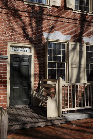 """B. Free Franklin Post Office Old City Philadelphia PA. The only Colonial-themed post office operated by the United States Postal Service. It is the only active post office in the United States that does not fly the American flag (because there was not yet one in 1775 when Benjamin Franklin was appointed Postmaster General). The postmark """"B. Free Franklin"""" is still used to cancel stamps. The museum on the second floor features displays of postal history and memorabilia.  photo"""
